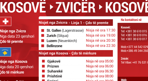 Linja e rregullt Kosovë - Zvicër - Kosovë